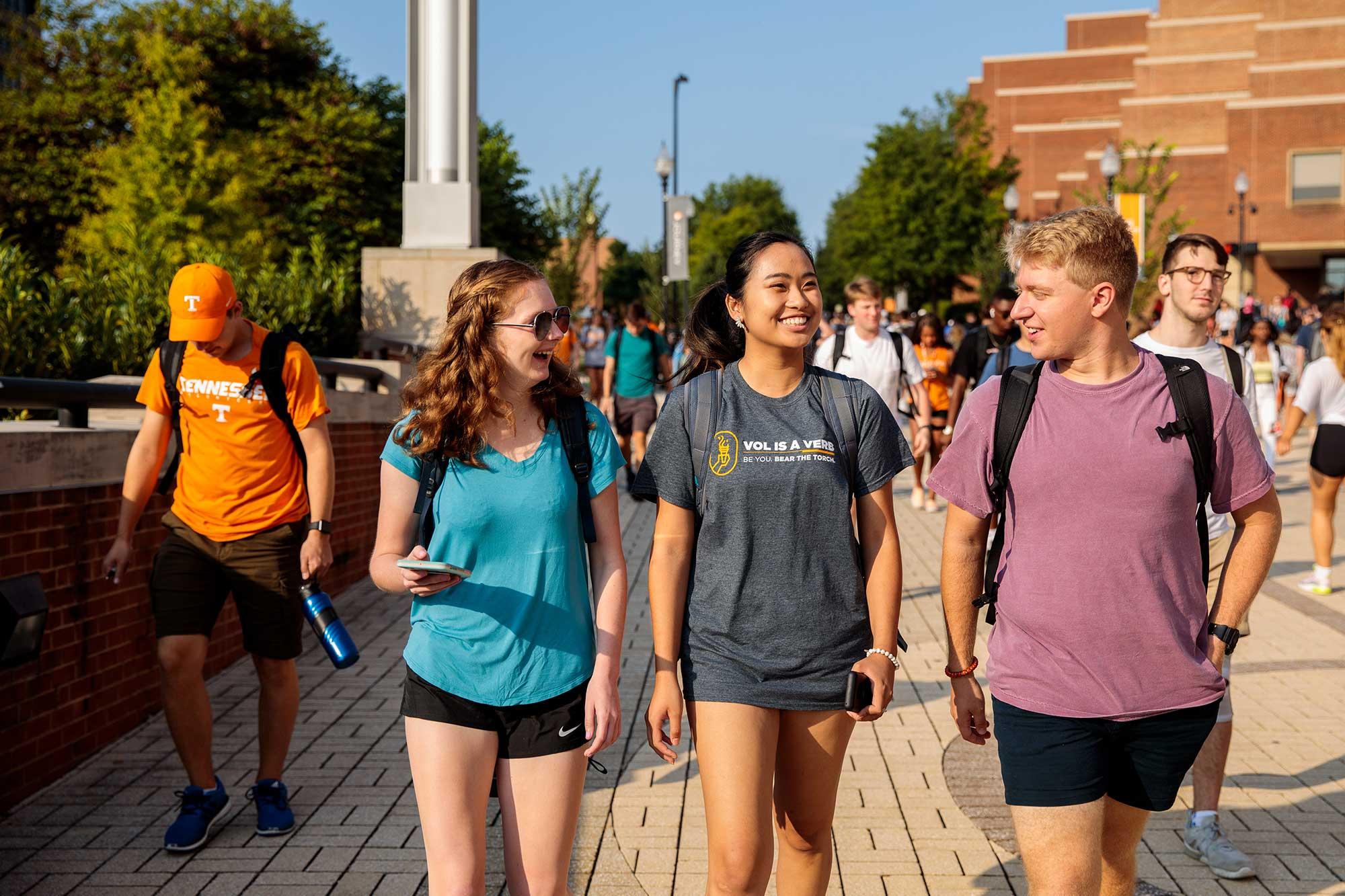 Students on Pedestrian Walkway.